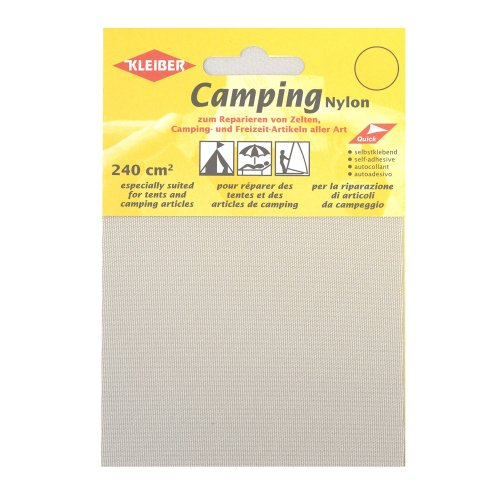 Kleiber Canvas Style Self Adhesive Waterproof Nylon Repair Patches, Light Grey