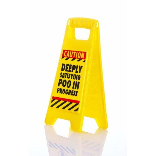 "Boxer ""Satisfying Poo Warning Sign, Plastic, Yellow"