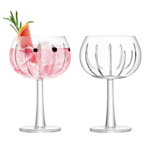 LSA International Balloon Gin Glasses, Ray Cut, 420 ml, Set of 2