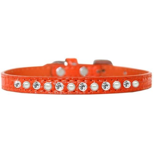 Mirage Pet 720-08 ORC14 Pearl and Clear Jewel Croc Dog Collar, Orange - Size 14