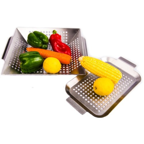 Vegetable Grill Basket Grill Pan with Handles- Set of 2 - Stainless Steel BBQ Accessories Tools