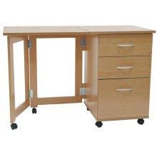 FLIPP - 3 Drawer Folding Office Storage Filing Desk / Workstation - Beech