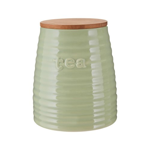 Winnie Green Dolomite Tea Canister With Bamboo Lid