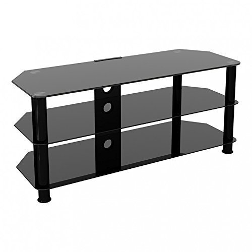 """King Universal Black Glass TV Stand 114cm suitable up to 55"""" inch for HD Plasma LCD LED OLED Curved TVs"""
