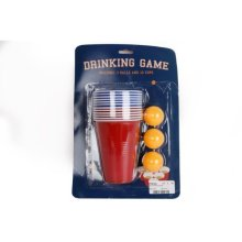 Original Adult Drinking Game Beer Pong Set 12 Red Plastic Cups 3 Ping Pong Balls