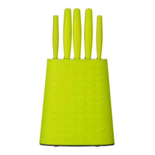 5Pc Knife Set With Storage Block, Lime Green