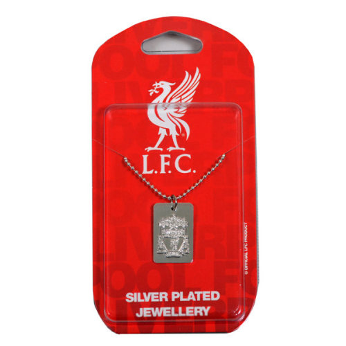 Liverpool F.c. Silver Plated Dog Tag & Chain - Fc Football New Licensed -  liverpool silver dog tag chain plated fc football new licensed official