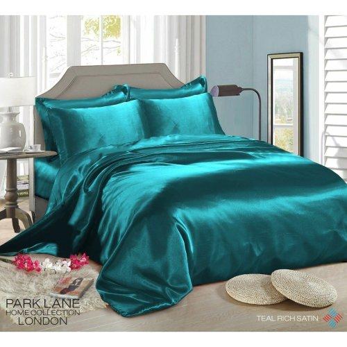 (DOUBLE, TEAL) 6PCS Satin Silk Duvet Cover Bedding Set