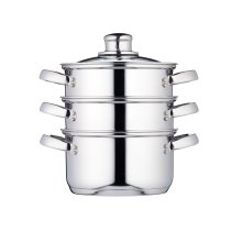 """KitchenCraft Induction-Safe Stainless Steel 3-Tier Food Steamer Pan / Stock Pot, 16 cm (6.5"""")"""