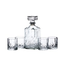 BarCraft Cut-Glass Whisky Decanter and Tumbler Gift Set (5 Pieces)