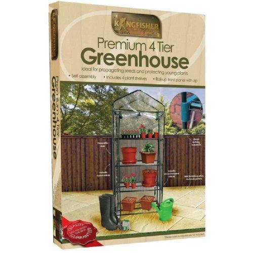 4 TIER GREENHOUSE STEEL FRAME PVC ZIP UP PLASTIC COVER GARDEN PLANTS GROWING