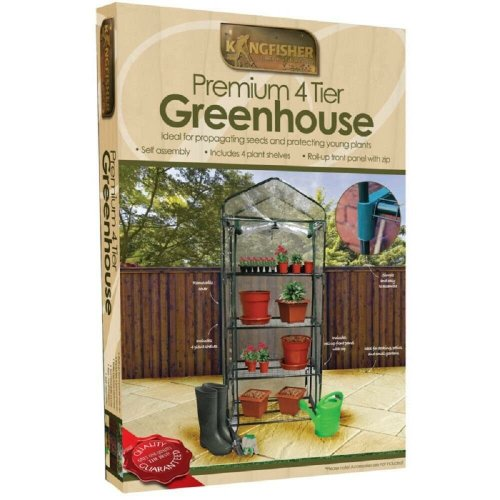 Kingfisher 4-Tier Plastic Greenhouse With Zip Front   Mini Greenhouse