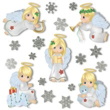 Christmas Angel Window Clings With 28 Glitter Snowflakes