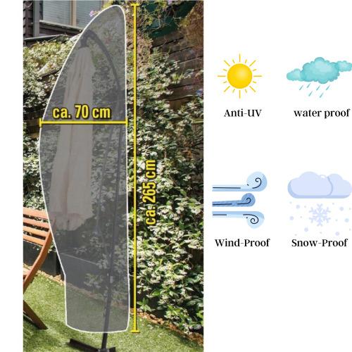 GEEZY Waterproof Hanging Cantilever Banana Parasol Cover Outdoor Garden Patio Umbrella