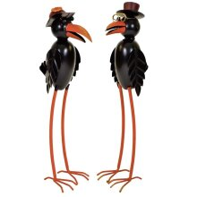Medium Black Dad Mum Raven Crow Metal Garden Animal Ornament Decorative Sculpture