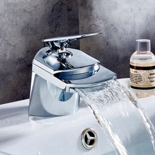 NEW Modern Waterfall Bathroom Tap Basin Sink Mono Mixer Chrome