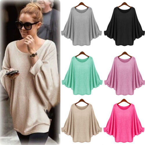 Womens Batwing Sleeve Knit Sweater  Casual Loose Baggy Pullover Jumper Top