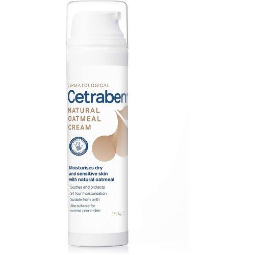 Cetraben Natural Oatmeal Cream, Body Cream, Dry Skin Moisturiser Suitable For Sensitive and Eczema-Prone Skin â 190g