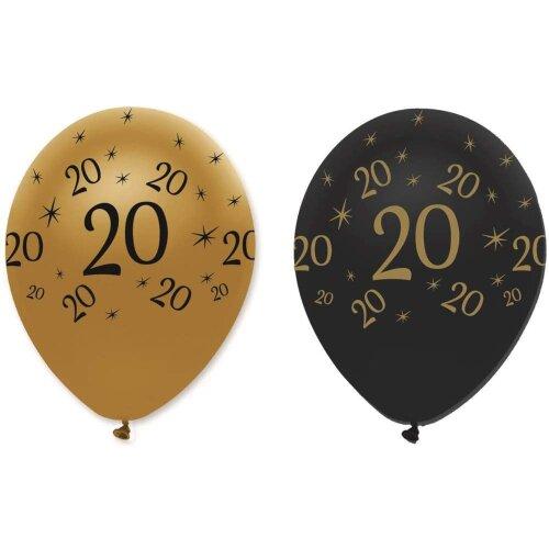 "6 Black & Gold 12"" Latex Balloons - 20th Birthday"