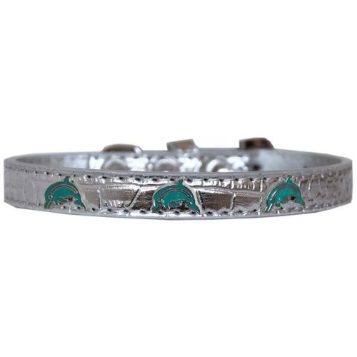 Mirage Pet 720-20 SVC14 Dolphin Widget Croc Dog Collar, Silver - Size 14