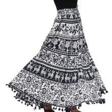 100% Cotton Mandala Print Boho Long Skirt with Tassels (Size 101.5x94cm)