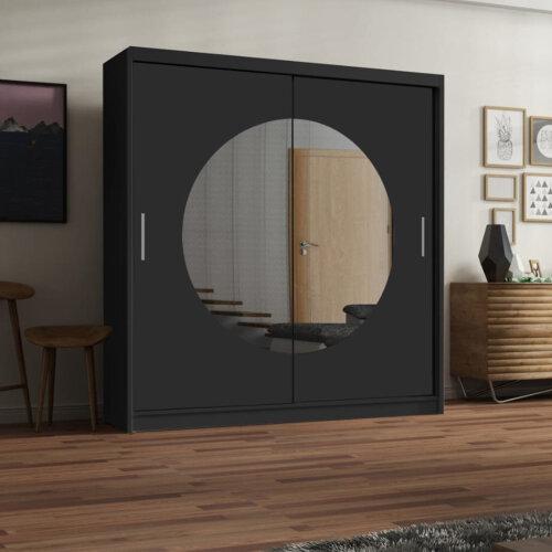 (Black, 203CM) Moon Free Standing Sliding Door Wardrobe