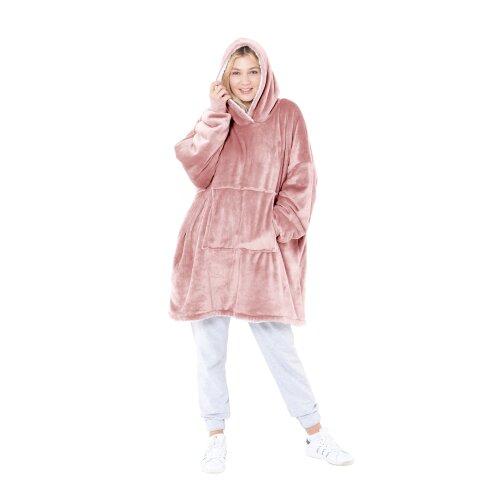 Eskimo Oversized Sherpa Hoodie Blanket Blush - One Size
