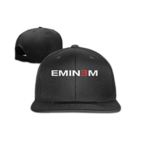 Eminem Logo Snapback Adjustable Flat Baseball Cap/Hat Black