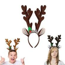 2pcs Dark /Light Brown Reindeer Antlers Headband Headpiece  Plush Toy