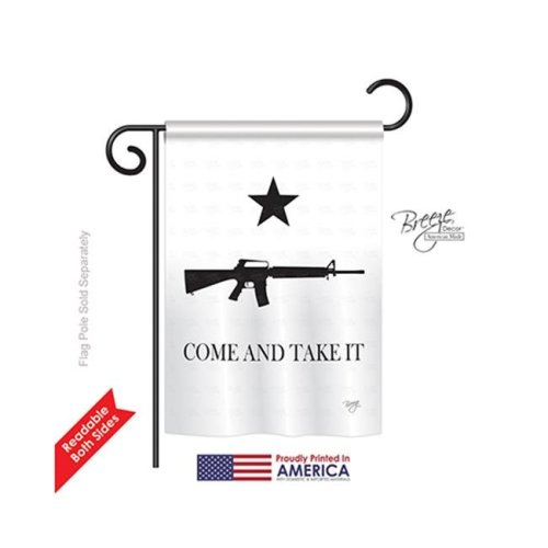 Breeze Decor 58180 Historic Come & Take It 2-Sided Impression Garden Flag - 13 x 18.5 in.