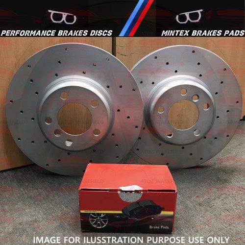 FOR BMW 335d 335i 340i M SPORT REAR DRILLED PERFORMANCE BRAKE DISCS MINTEX PADS