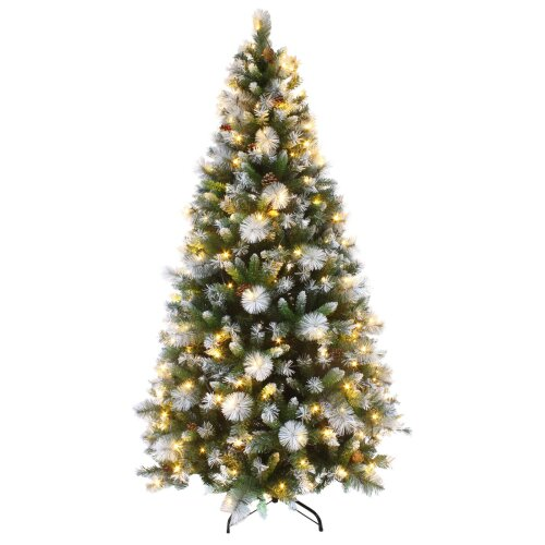 7ft Luxury Pre Lit Decorated Artificial Christmas Tree LED Lights Frosted Tips