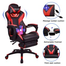 ELECWISH Gaming Chair Massage PU Leather Gaming Chairs