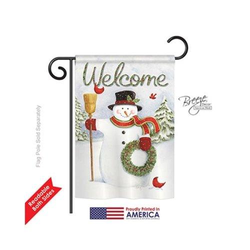 Breeze Decor 64100 Christmas Snowman Wreath 2-Sided Impression Garden Flag - 13 x 18.5 in.