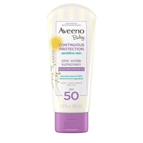 Aveeno Baby Continuous Protection Zinc Oxide SPF 50 Sunscreen, 88 ml, Mineral Sunscreen Lotion, Water & Sweat Resistant