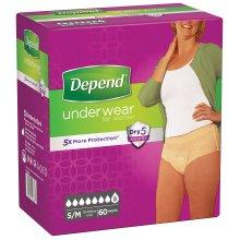 Depend Underwear Absorbent Absorption Super Size S/M Women–60Units