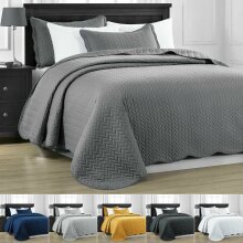 Satin Embossed Bedspread Throw & Pillowcase