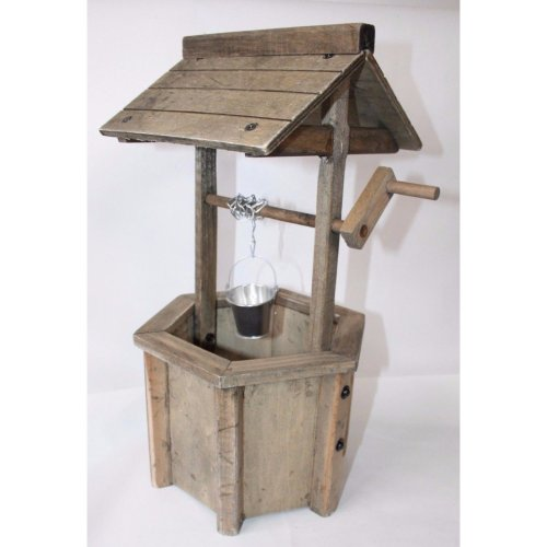 Wooden Wishing Well Flower Planter - Garden Decorative Flowers Basket
