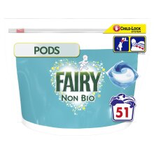 Fairy Non Bio Pods Washing Liquid Capsules, Sensitive Skin Mega Pack - 51 Washes