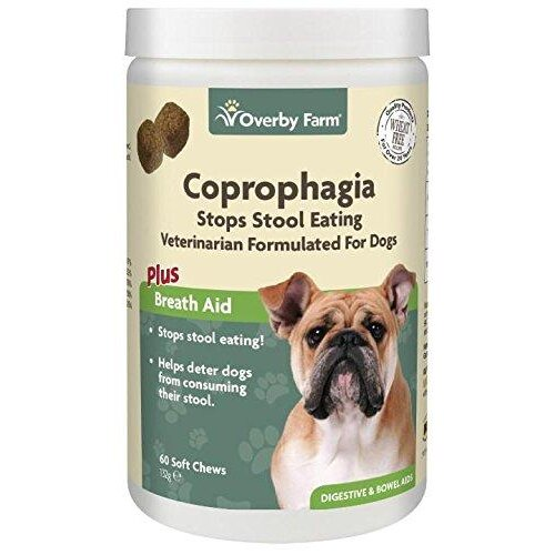 Overby Farm Coprophagia Soft Chews for Dogs | Dog Supplement To Keep Pet From Eating Stool | Chewable Daily Supplements with Probiotics | Vet Formul
