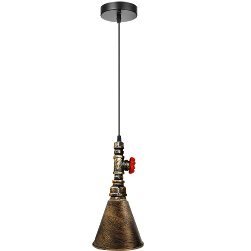 (Brushed Copper ) Brushed Water Pipe Vintage Pendant Ceiling Light