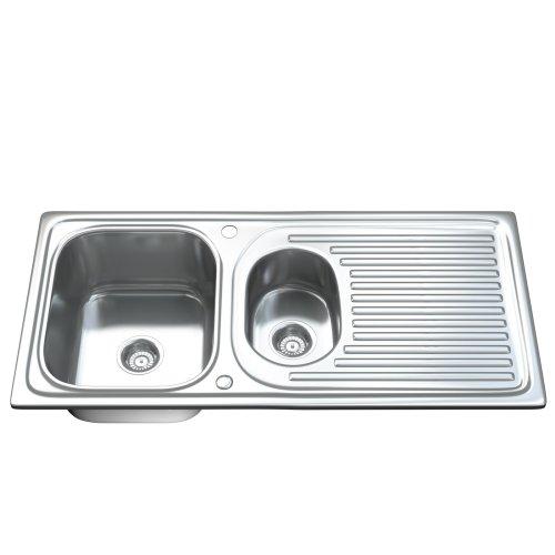 Dihl 1502 1.5 One & Half Bowl Stainless Steel Kitchen Sink, Drainer & Waste