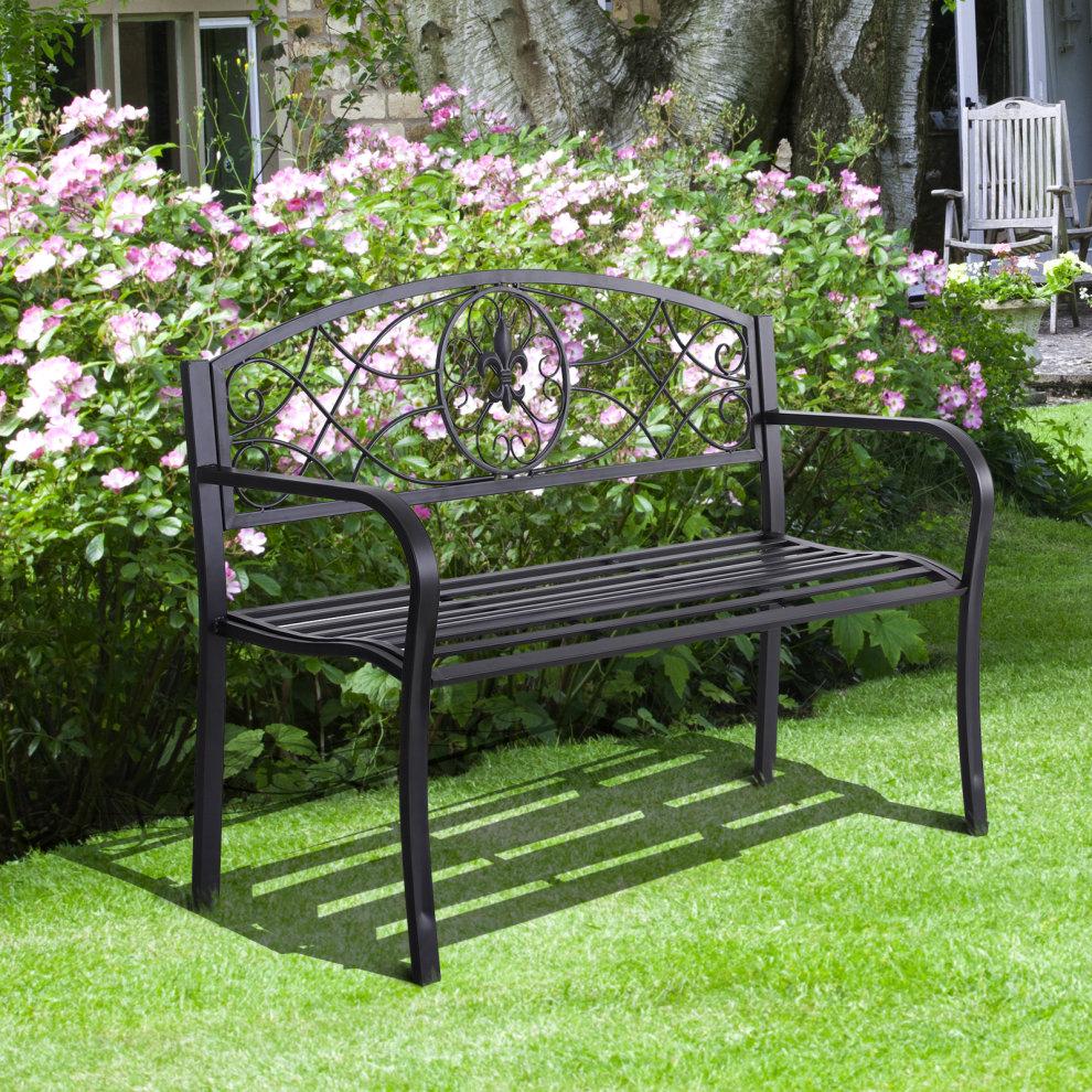 Outsunny Outdoor Patio Garden Bench Scroll Park Furniture ...