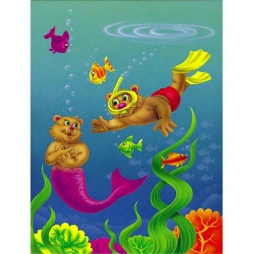Teddy Bear Mermaid & Diver Flag Garden Size