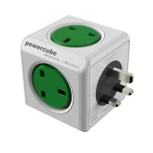 PowerCube Original 5way Wall Socket Adapter Outlet with Resettable Fuse (Kelly Green)