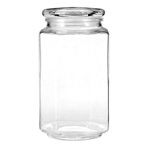 Hexagonal Shape Clear Glass Storage Jar, Medium