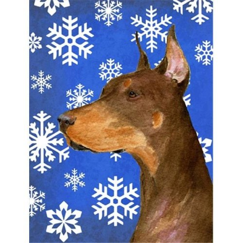 11 x 15 In. Doberman Winter Snowflakes Holiday Flag, Garden Size