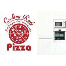 Cooking Rule If At First You Dont Succeed Order Pizza Wall Stickers Art Decals - Large (Height 68cm x Width 57cm) Dark Red