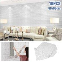 10pcs Adhesive Stick ON Wall Paper 3D Foam Brick Wall Tile Stickers