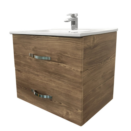 600mm Grey Oak Effect Minimalist Bathroom Cabinet Vanity Sink Unit Furniture